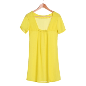 Sexy Round Collar Solid Color Backless Short Sleeve Dress For Women