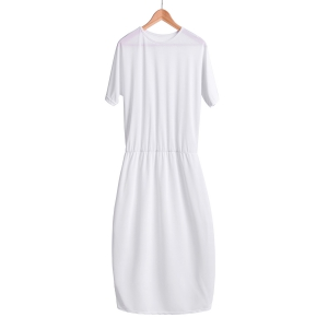 Stylish Round Collar Short Sleeve Pure Color Women's Midi Dress