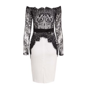 Boat Neck Long Sleeve See-Through Spliced Party Dress - WHITE AND BLACK L