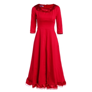 Midi A Line Flounce Swing Evening Dress - RED S