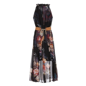 Vintage Ruff Collar Sleeveless Floral Print Lace-Up Women's Dress -