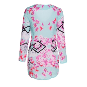 Sexy Plunging Neck Floral Print Bodycon Long Sleeve Dress For Women - COLORMIX S