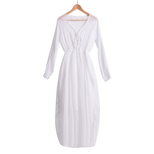 Refreshing V-Neck Solid Color Long Sleeve Chiffon Maxi Dress For Women - White - L