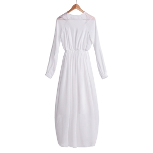 Refreshing V-Neck Solid Color Long Sleeve Chiffon Maxi Dress For Women - WHITE M