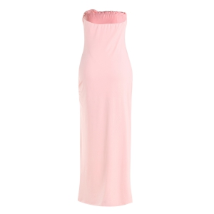 Maxi Asymmetric Prom Formal Strapless Dress - PINK S