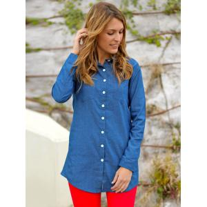 Straight Long Denim Shirt - BLUE S