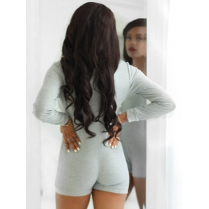 Sexy Plunging Neck Long Sleeve Gray Knitted Women's Romper -
