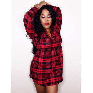 Plunge Plaid Shirt Dress -