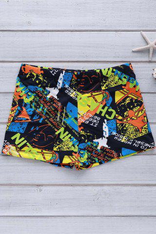 Hot Colorful Printing Elastic Swimming Trunks For Men COLORFUL L