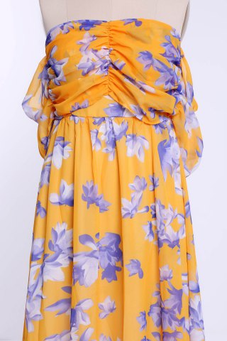 Outfits Ruched Floral Chiffon Bandeau Maxi Beach Dress - S ORANGE Mobile