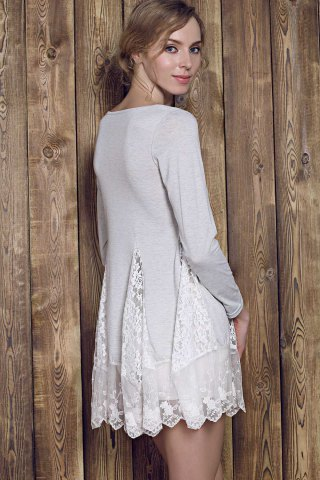 Outfits Lace Panel Skater Dress With Sleeves - L GRAY Mobile