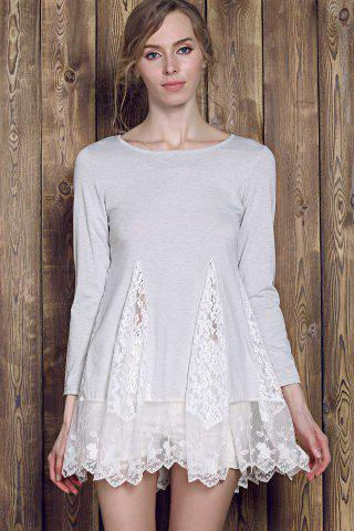 Fashion Lace Panel Skater Dress With Sleeves - L GRAY Mobile