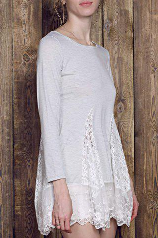Lace Panel Skater Dress With Sleeves - GRAY L