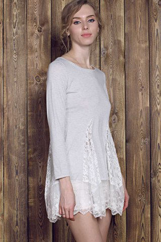 Latest Lace Panel Skater Dress With Sleeves - L GRAY Mobile