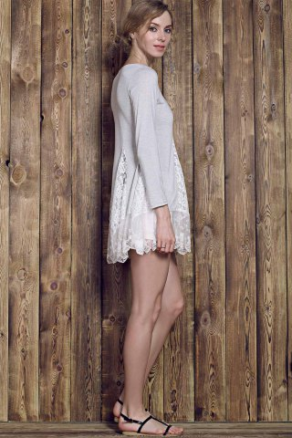 New Lace Panel Skater Dress With Sleeves - L GRAY Mobile