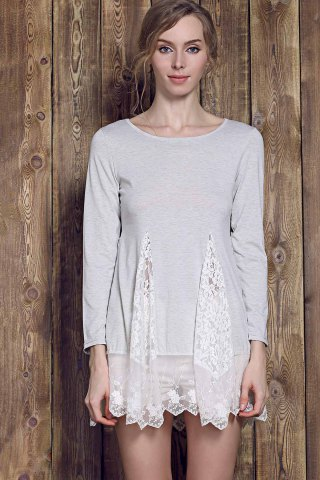 Hot Lace Panel Skater Dress With Sleeves - L GRAY Mobile