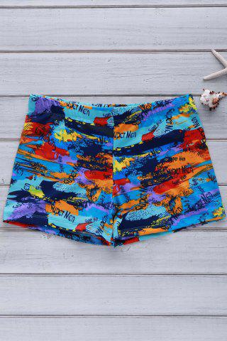 Chic Elastic Colorful Printing Swimming Trunks For Men COLORFUL 3XL