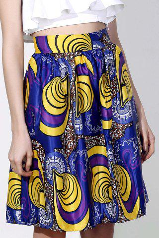 Store Vintage High-Waisted Printed Women's Pleated Skirt