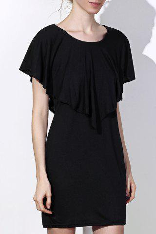 Online Fashionable Scoop Neck Solid Color Short Sleeve Dress For Women