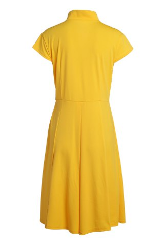 Shops Vintage Stand Collar Solid Color Pleated Midi Dress For Women