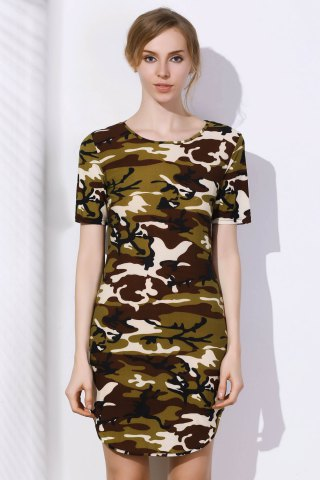 Discount Camo Arc Hem Tunic T-Shirt Dress
