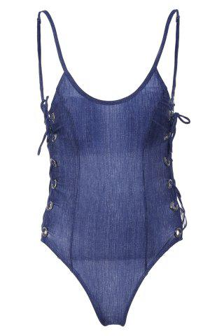 Hot Sexy Strappy Backless Solid Color One-Piece Swimwear For Women