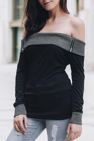 Buy Sexy Off-The-Shoulder Long Sleeve Spliced Slimming T-Shirt For Women BLACK S