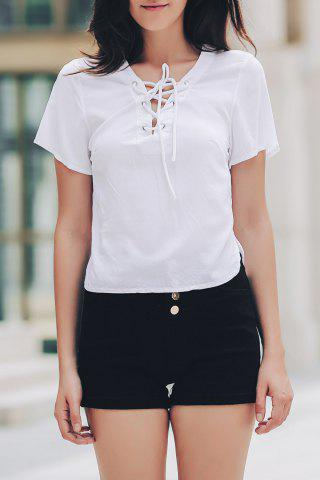 Shop Stylish V-Neck Short Sleeve Solid Color Lace-Up T-Shirt For Women WHITE ONE SIZE(FIT SIZE XS TO M)