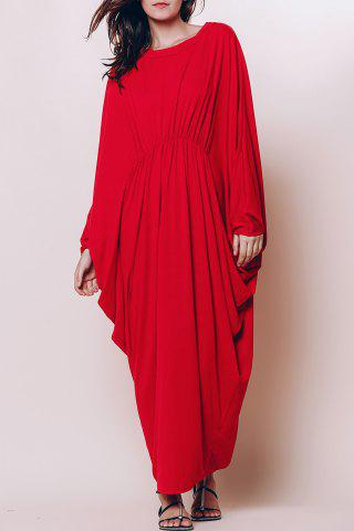 Outfits Maxi Batwing Long Sleeve Pleated Casual Dress RED M