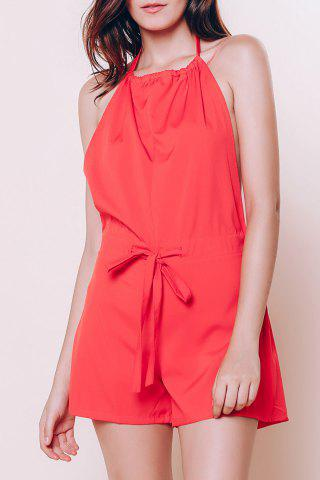 Unique Women's Stylish Sleeveless Backless Halter Red Romper