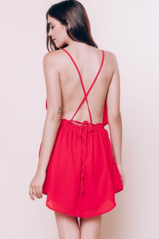 Store Mini Open Back Slip Summer Casual Dress - M RED Mobile