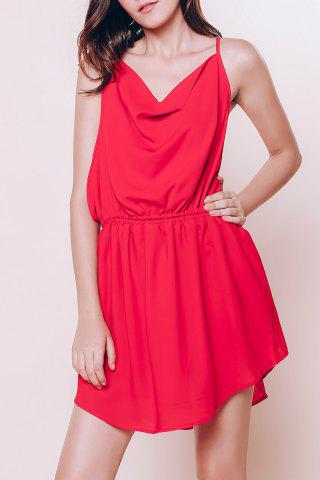 Cheap Mini Open Back Slip Summer Casual Dress - M RED Mobile