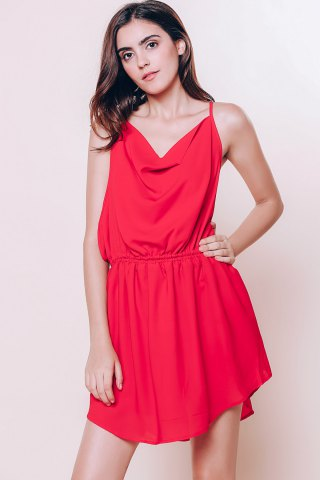 Sale Mini Open Back Slip Summer Casual Dress - M RED Mobile