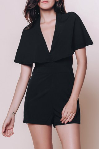 Affordable Fashionable Plunging Neck Half Sleeve Solid Color Hollow Out Cape Romper For Women