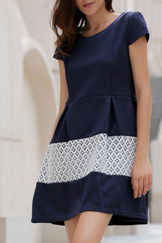 Sale Stylish Scoop Neck Short Sleeve Spliced Women's Flare Dress
