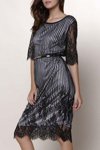 Chic Jewel Neck Lace Splicing 1/2 Sleeve Skinny Dress For Women - White - Xl