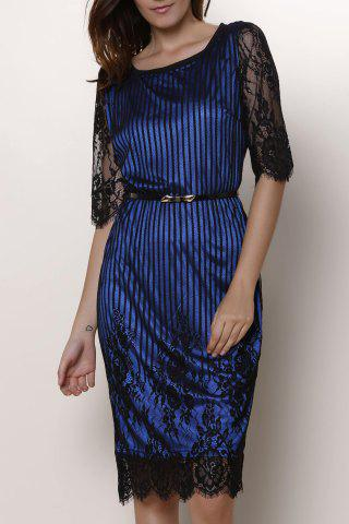 Buy Chic Jewel Neck Lace Splicing 1/2 Sleeve Skinny Dress For Women