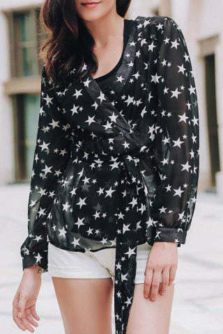 Unique Stylish Women's See-Through V-Neck Star Print Long Sleeve Blouse BLACK M