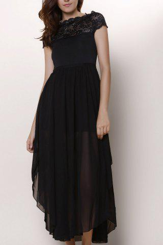 Cheap Lace Panel Chiffon Swing Prom Dress - 2XL BLACK Mobile