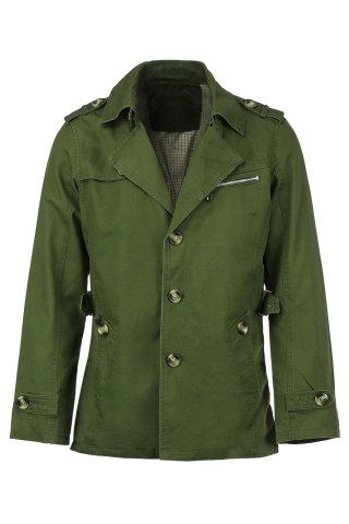 New Turn-Down Collar Epaulet Single Breasted Long Sleeve Men's Trench Coat ARMY GREEN XL
