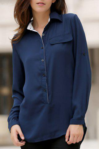 Discount Stylish Shirt Collar Long Sleeves Loose-Fitting High Low Blouse For Women