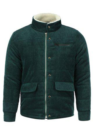 Online Fur Collar PU Leather Spliced Flap Pocket Long Sleeves Fitted Men's Thicken Corduroy Padded Coat - L ARMY GREEN Mobile