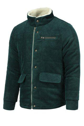 Discount Fur Collar PU Leather Spliced Flap Pocket Long Sleeves Fitted Men's Thicken Corduroy Padded Coat - L ARMY GREEN Mobile