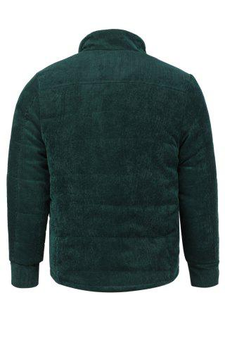 Shop Fur Collar PU Leather Spliced Flap Pocket Long Sleeves Fitted Men's Thicken Corduroy Padded Coat - L ARMY GREEN Mobile