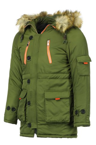 Fancy Color Block Multi-Zipper Stereo Patch Pocket Detachable Hooded Long Sleeves Men's Fitted Coat - 2XL ARMY GREEN Mobile