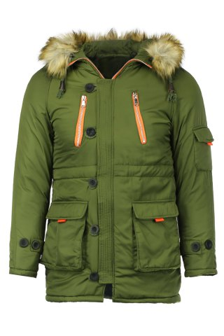 Affordable Color Block Multi-Zipper Stereo Patch Pocket Detachable Hooded Long Sleeves Men's Fitted Coat - 2XL ARMY GREEN Mobile