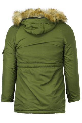 Store Color Block Multi-Zipper Stereo Patch Pocket Detachable Hooded Long Sleeves Men's Fitted Coat - 2XL ARMY GREEN Mobile