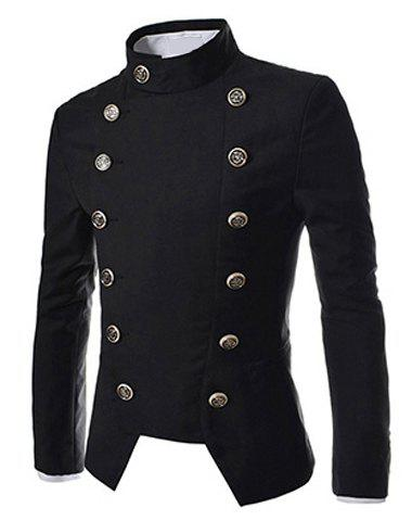 Fashion Novel Style Stand Collar Double-Breasted Slimming Solid Color Long Sleeves Men's Blazer - M BLACK Mobile