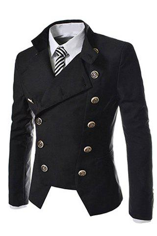 Discount Novel Style Stand Collar Double-Breasted Slimming Solid Color Long Sleeves Men's Blazer - M BLACK Mobile