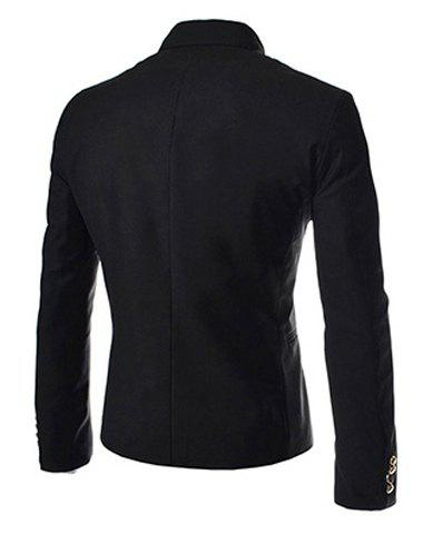 New Novel Style Stand Collar Double-Breasted Slimming Solid Color Long Sleeves Men's Blazer - L BLACK Mobile